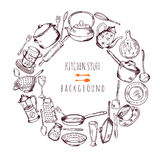 Hand drawn cooking icons in circle shape. Vector line illustration Royalty Free Stock Photos
