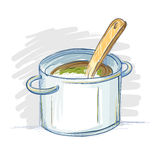 Hand Drawn Cooking Pot in Sketch And Doodling Style Stock Photos