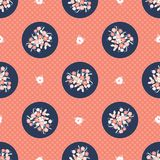 Hand drawn coral blue flower polka dot royalty free illustration