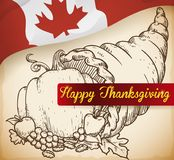 Hand Drawn Cornucopia with Vegetables for Canadian Thanksgiving Day, Vector Illustration Royalty Free Stock Photo