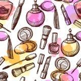 Hand Drawn Cosmetics Seamless Pattern Stock Photos