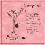 Hand drawn Cosmopolitan cocktail Royalty Free Stock Photos