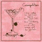 Hand drawn Cosmopolitan cocktail vector illustration