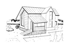 Hand drawn cottage. modern private residential house. black and white sketch illustration. Stock Image
