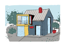 Hand drawn cottage. modern private residential house. colorful sketch illustration. Stock Photo