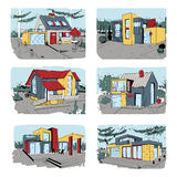 Hand drawn cottage. modern private residential houses. colorful sketch illustrations set. Hand drawn cottage. modern private residential houses. colorful sketch Stock Image
