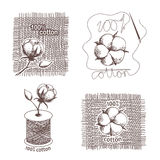 Hand drawn cotton certificates, labels Royalty Free Stock Photo