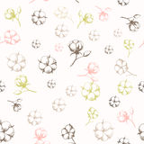 Hand drawn cotton flowers seamless pattern. Vector illustration in eps8 format Royalty Free Stock Images