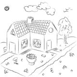 Hand Drawn Country House in Doodle Style. Children Drawings of House with Flowerbed and Birch Stock Images