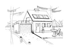 Hand drawn country house. modern private residential house with garage. black and white sketch illustration. Stock Images