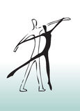 Hand drawn couple dancing. Hand drawn illustration of a couple dancing Stock Photos