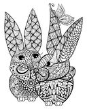 Hand drawn couple rabbits lovers  illustration for antistress Co Royalty Free Stock Photography