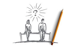 Hand drawn couple sitting on bench, space between. Vector hand drawn chess couple question concept sketch with pencil over it. Man and woman sitting on bench Stock Photography