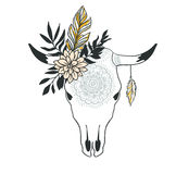 Hand drawn cow skull with ornament, flower, leaves and feather. Royalty Free Stock Photography