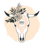 Hand drawn cow skull with ornament, flower, leaves and feather. Royalty Free Stock Photo