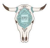 Hand drawn cow skull with ornamental frame. Royalty Free Stock Image
