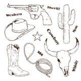 Hand drawn cowboy retro vintage elements Royalty Free Stock Photo