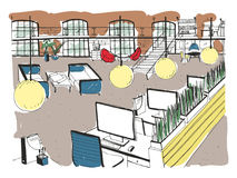 Hand drawn coworking cluster. Modern office interior, open space. workspace with computers, laptops, lighting and place. For rest. Colorful horizontal vector stock illustration