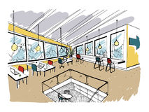 Hand drawn coworking cluster. Modern office interior, open space. workspace with computers, laptops, lighting and place. For rest. Colorful horizontal vector royalty free illustration