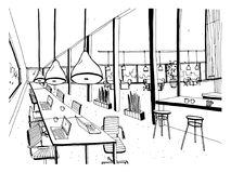 Hand drawn coworking cluster. Modern office interior, open space. workspace with computers, laptops, lighting and place. For rest. Black and white horizontal royalty free illustration