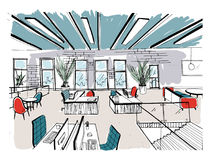Hand drawn coworking cluster. Modern office interiors, open space. workspace with computers, laptops, lighting and place. For rest. Colorful horizontal vector royalty free illustration