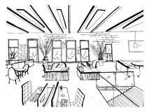Hand drawn coworking cluster. Modern office interiors, open space. workspace with computers, laptops, lighting and place. For rest. Black and white horizontal royalty free illustration