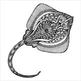 Hand drawn  cramp-fish in black and white doodle style Stock Photography