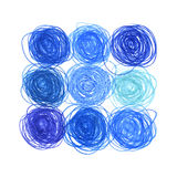 Hand drawn in crayon circles Royalty Free Stock Images