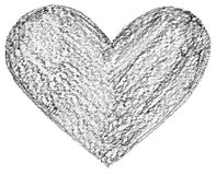 Hand drawn, crayon heart shape Stock Image