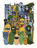Hand drawn Crazy doodle Monster City Stock Photo