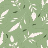 Hand drawn cream and green leaves with ornamental swirls. Seamless vector pattern on warm green background. Great for stock illustration