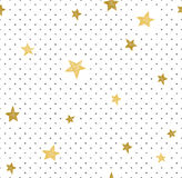 Hand drawn creative background. Simple minimalistic seamless pattern with golden stars and dots. Universal design. stock illustration
