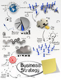 Hand drawn creative business strategy on crumpled paper backgrou Stock Photos