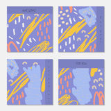 Hand drawn creative invitation greeting cards. Invitation party card template. Set of 4 isolated on layer. Abstract creative universal doodles. Roughly brushed vector illustration