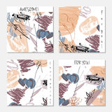 Hand drawn creative invitation greeting cards Stock Images