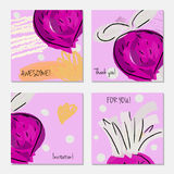 Hand drawn creative invitation greeting cards Royalty Free Stock Photo