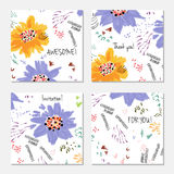 Hand drawn creative invitation greeting cards Royalty Free Stock Images