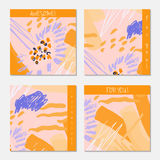 Hand drawn creative invitation greeting cards Royalty Free Stock Photography