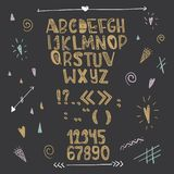 Hand Drawn Creative Love Alphabet. Gold letters on a black background. Vector Royalty Free Stock Image