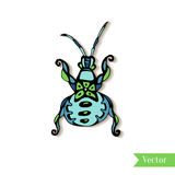 Hand drawn creativity beetle, insect. Ethnic style tattoo vector. Print, t-shirt, logo, icon or henna design. Cute decoration. Royalty Free Stock Image