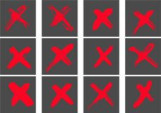 Hand drawn  cross signs. Freehand, isolated. Hand drawn cross signs. Freehand, isolated on white background set Royalty Free Stock Photos