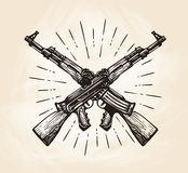 Hand-drawn crossed automatic machines of Kalashnikov, sketch. Weapon vector illustration Stock Images