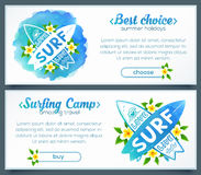 Hand drawn crossing surfing boards logo in blue watercolor style, vector horizontal banners Royalty Free Stock Photography