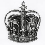 Hand drawn crown isolated white background Stock Photography