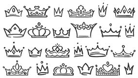Hand drawn crown. Luxury crowns sketch, queen or king coronation doodle and majestic princess tiara isolated vector royalty free illustration