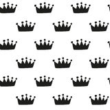 Hand drawn crown - seamless pattern Royalty Free Stock Photos