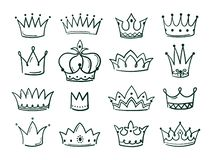 Hand drawn crown. Sketch crowns queen coronet simple elegant black crowning vintage coronal icons majestic tiara. Isolated vector set royalty free illustration