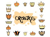 Hand drawn crown yellow orange different tiara set for princess. Cute isolated diadem vector illustration for wedding icon, logo royalty free illustration