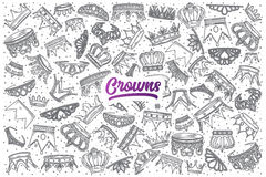 Hand drawn Crowns doodle set with lettering Royalty Free Stock Image