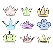 Hand drawn crowns logo and icon collection. Eps 10 Royalty Free Stock Images